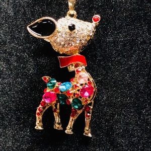 Betsey Johnson Christmas Rudolph Crystal Necklace